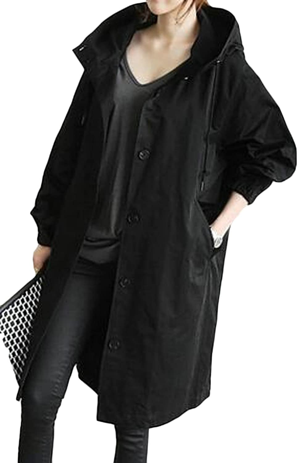 ARRIVE GUIDE Women's Casual Single-Breasted Hooded Oversized Trench Coats