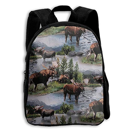 ERTOUGN22 Cute Bull Moose Nature Scenic Wildlife Animals Lake Kids School Backpack For Children Elementary School Bags Book Bags -