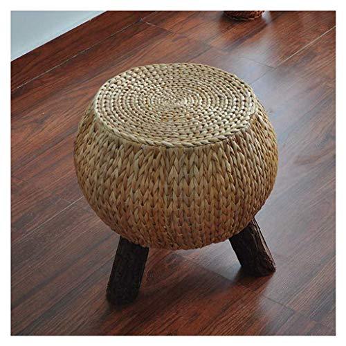 EGCLJ Simple Rattan Ottoman Footstool Pouf Stool Sofa Stool Living Room Bedroom Dressing Table Shoe Store Footstool