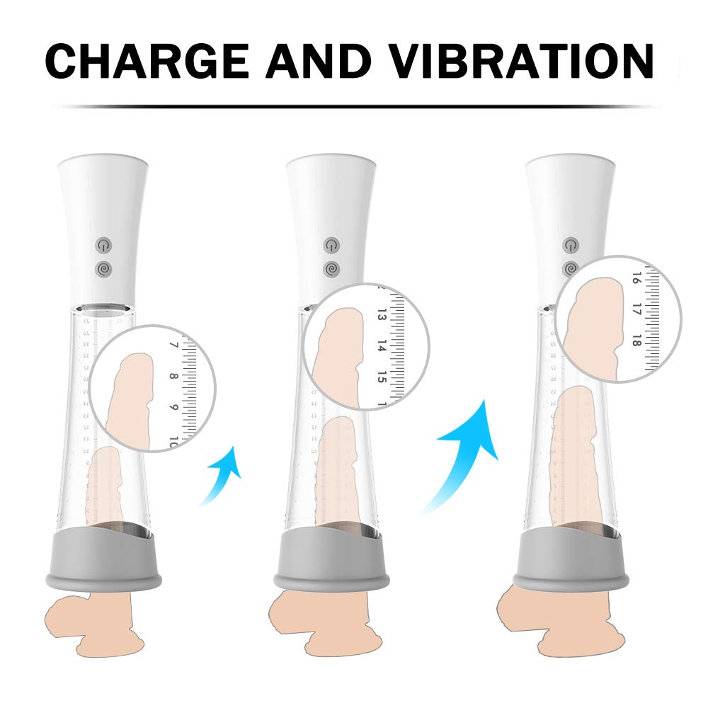 USB Charging 3 Kinds of Strong Suction and 9 Kinds of Powerful Vibrations Vacuum Pump Massager Pump Kit, Electronics Stick for Male by Edonsor (Image #6)