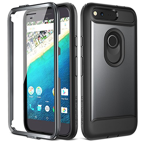 Google Pixel Case, YOUMAKER Slim Fit Full-body Rugged Heavy Duty Protection Cover Case with Built-in Screen Protector and Belt Clip Holster for Google Pixel 5.0 inch (2016 Release) - Black/Black