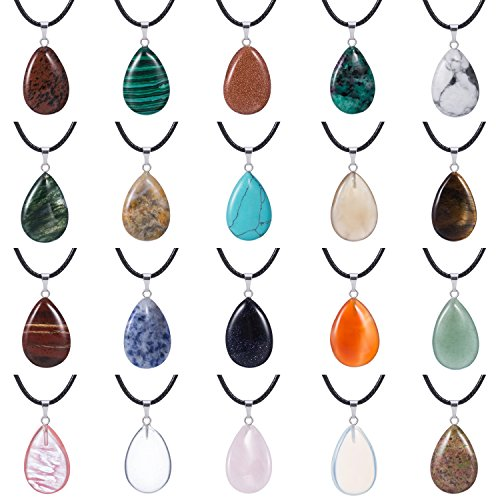 Outus 20 Pieces Stone Pendants Water Drop Shape Beads Crystal Quartz Stone Charm with 18 Inch Imitation Leather Cord Chain for Necklace Jewelry Making