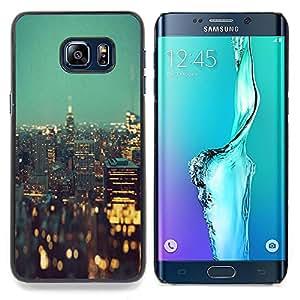 """For Samsung Galaxy S6 Edge Plus / S6 Edge+ G928 Case , Luces de la ciudad de Nueva York Edificios de la noche"""" - Diseño Patrón Teléfono Caso Cubierta Case Bumper Duro Protección Case Cover Funda"""