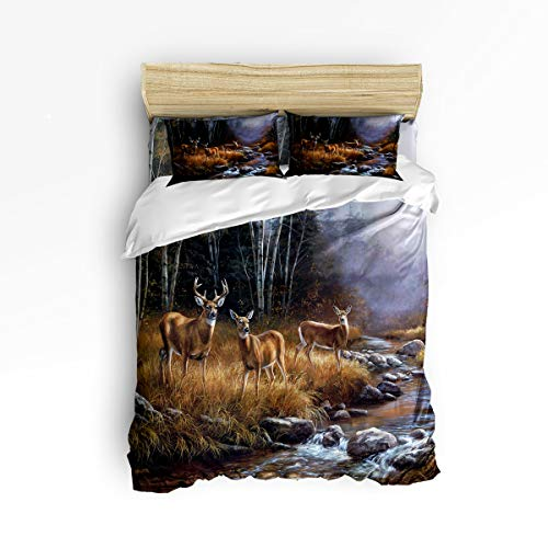 Heart Pain Deer Kids Mother -4 Pieces- Printed Bedding Sets Luxury Quilt Cool 100% Polyester for Kids Adults[NO Comforter] Wild Animal Themed Forest River (Twin)