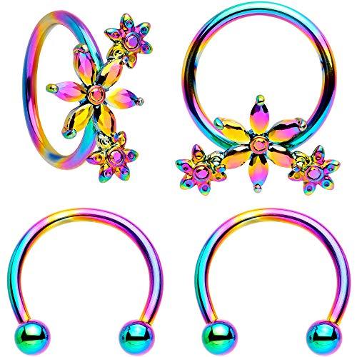 Body Candy Womens 4PC 16G Rainbow Anodized Steel 10mm Flower Power Horseshoe BCR Captive Ring Set 3/8