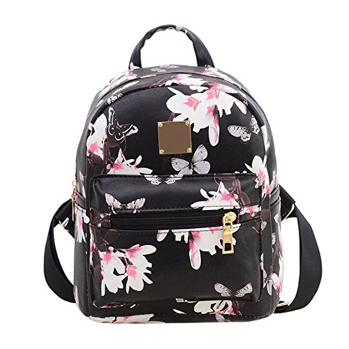 Women Girls Mini Backpack Fashion Causal Floral Printing Leather Bag ()