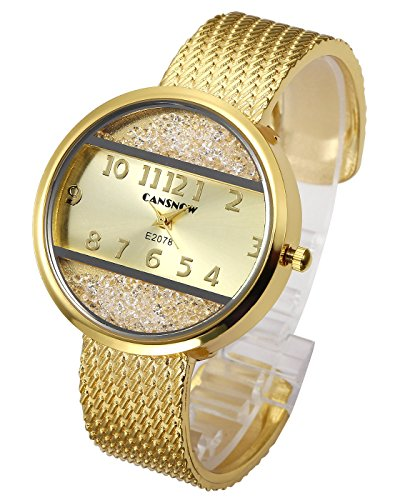 Top Plaza Women Ladies Casual Luxury Gold Silver Tone Alloy Analog Quartz Bracelet Watch Round Case Rectangle Dial Rhinestones Decorated Elegant Dress Bangle Cuff Wristwatch-Gold #2 (Round Silver Watch)