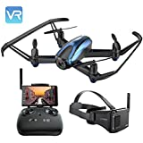Drone with VR Glasses, Potensic Quadcopter Racing Drone With 720P HD Live Camera RTF 4 Channel 5.8Ghz FPV LCD Screen Monitor 6-Gyro(360 Degree Flip) Headless Mode & Altitude Hold Function