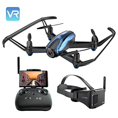 Drone With VR Glasses, Potensic Drone With Camera RC Quadcopter 720P HD Live Video 5.8Ghz FPV 5 Inch Screen Monitor Headless Mode & Altitude Hold Function