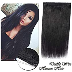 Dark Black Hidden Wire Hair Extensions 16inch 90g Flip on Thick Human Hair Crown in Hairpiece Secret Translucent Fish Line No Clip Miracle Headband #1