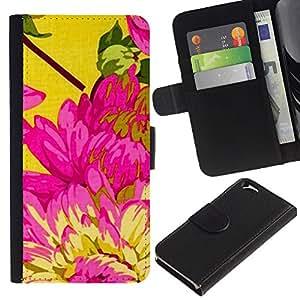 Billetera de Cuero Caso Titular de la tarjeta Carcasa Funda para Apple Iphone 6 4.7 / Yellow Pink Floral Spring Petal / STRONG