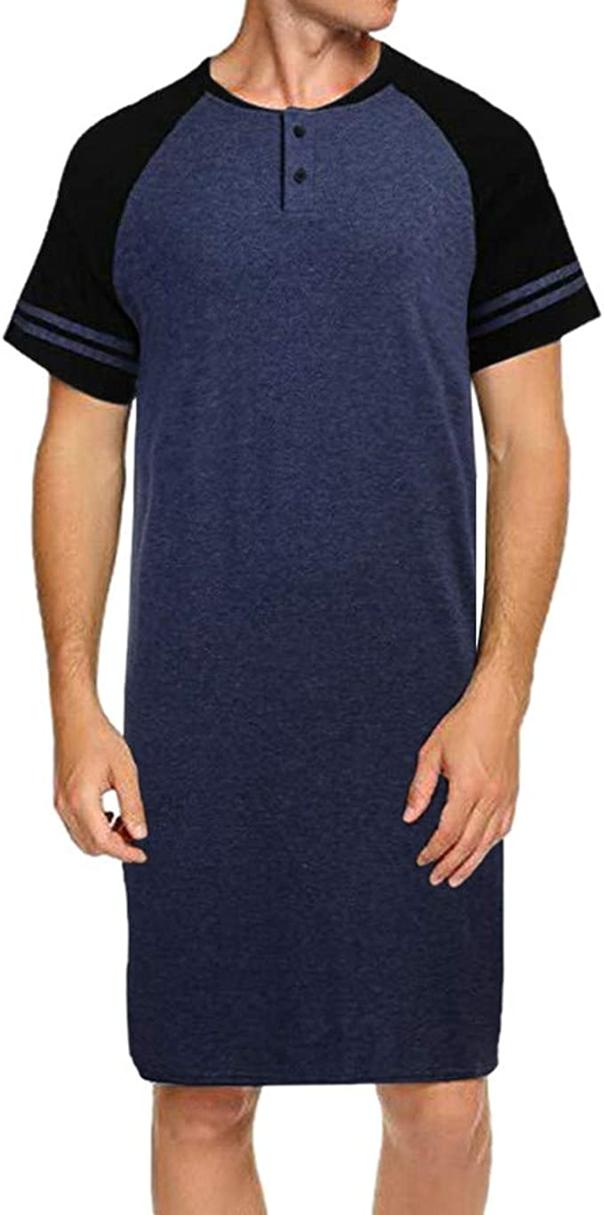 HCFKJ Camisetas Hombre Hombres RagláN Manga Corta BotóN De Remiendo Largo Suelto Pijama Camiseta CamisóN: Amazon.es: Ropa y accesorios
