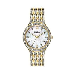 Bulova Women's 32mm Goldtone Crystal Mother of Pearl Dial Bracelet Watch