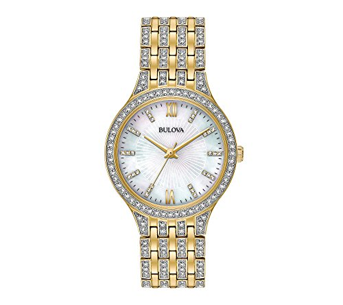 Bulova Women's 32mm Goldtone Crystal Mother of Pearl Dial Bracelet Watch