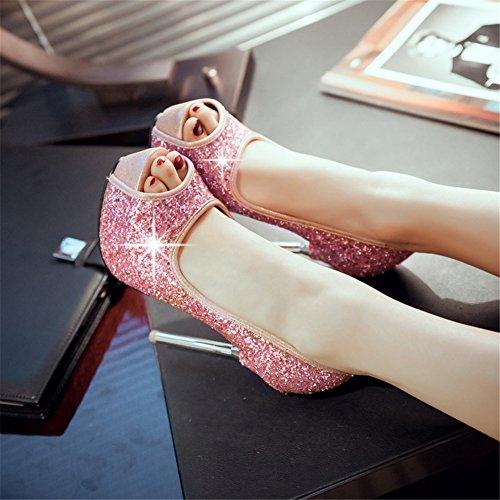 Rosa Donna Pompe Pink Scarpe D'imitazione Oro Sera Da Tacchi Stiletto Spillo Sandali Alti Ragazze Sposa Per Estivi Paillette Bianco Nvxie A Hw8qCvC