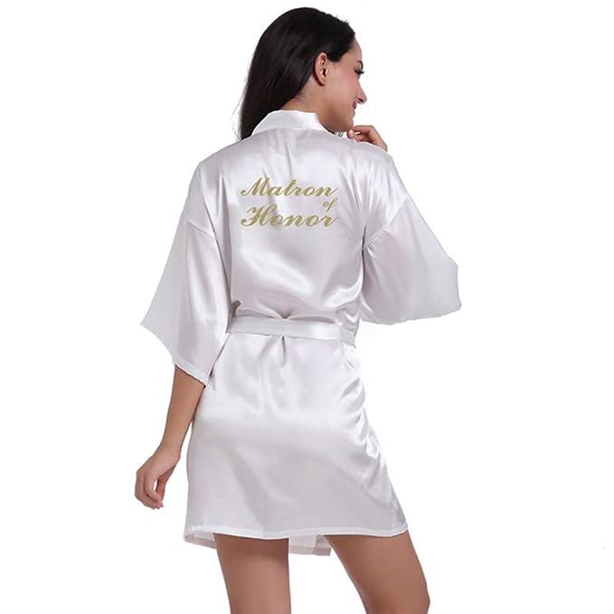 BOYANN Dama de Honor Estampado en Caliente Ropa de Dormir Sexy Batas y Kimonos de Satén, Blanco S: Amazon.es: Ropa y accesorios