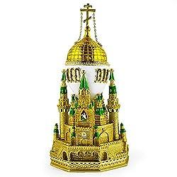 Moscow Kremlin Royal Russian Egg- Enameled Jewelry Trinket Box Figurine