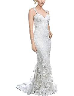 d9cdb6eee110 HelloLadyBridal Womens Lace Mermaid Wedding Dresses for Bride 2019 Illusion  Back Bridal Gowns