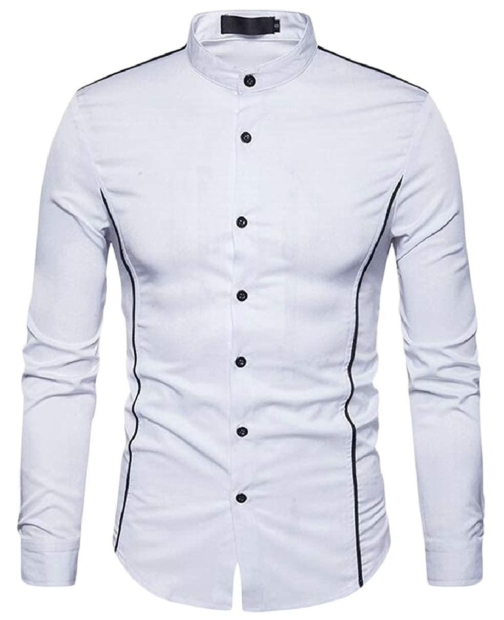 CBTLVSN Mens Casual Simple Slim Long Sleeve Button Down Dress Shirt