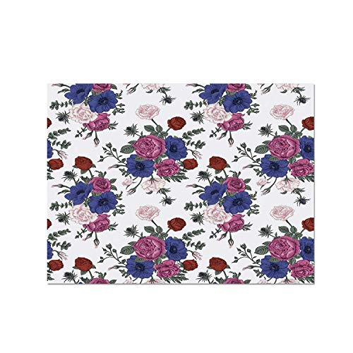 - C COABALLA Anemone Flower Heat Resistant Table Mat,Bouquets of Roses Anemones Eustoma Colorful Corsage Bedding Plants Design Decorative for Dining,15.7