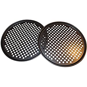 Pack of 2 Pizza Pans with holes 13 inch – Professional set for restaurant type pizza at home grill barbecue