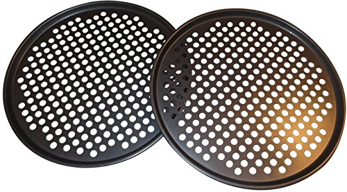 Pack of 2 Pizza Pans with holes 13 inch - Professional set for restaurant type pizza at home grill barbecue ()