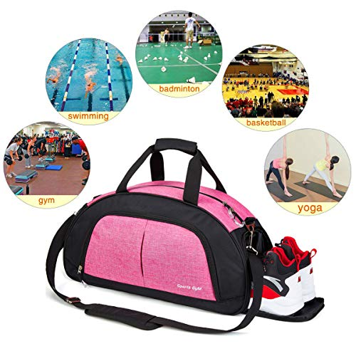 Sports Gym Bag with Wet Pocket & Shoes Compartment Travel Duffel bag for Women & Men(Pink)