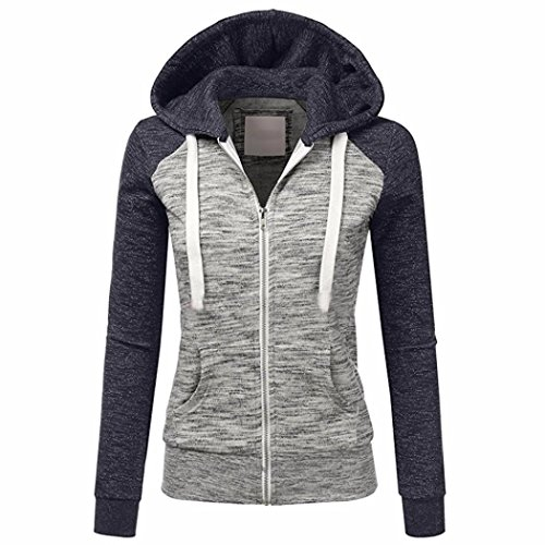 Charberry Women's Fashion Hoodie Sweatshirt Hooded Coat Windproof Zipper Jacket (XXL, Navy)