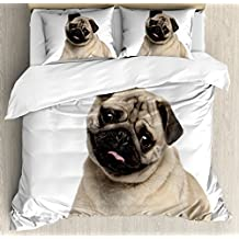 Ambesonne Pug Duvet Cover Set Queen Size, Nine Months old Pug Puppy Lying Around Cute Pet Funny Animal Domestication Print, Decorative 3 Piece Bedding Set with 2 Pillow Shams, Pale Brown Black