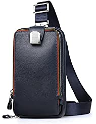 Padieoe Mens Genuine Leather Crossbody Bag Chest Sling Backpack Body Shoulder Bag Pack Blue NB150829L