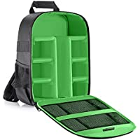 Neewer Camera Case Waterproof Shockproof 11.8x5.5x14.6 inches/30x14x37 centimeters Camera Backpack Bag with Tripod Holder for DSLR, Mirrorless Camera, Flash or Other Accessories(Green Interior)
