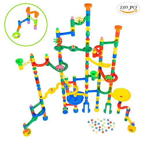 Giant Marble Run Toy Track Super Set Game | MagicJourney 230 Piece Marble Maze Building Sets w/ 200 Colorful Marble Tracks, 30 Marbles & 4 Challenge Levels for STEM Learning, Endless Educational Fun - Super Track