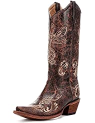 Corral Womens Circle G Distressed Bone Dragonfly Embroidered Western Boot