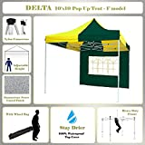 10'x10′ Pop up 4 Wall Canopy Party Tent Gazebo Ez Green Yellow – F Model Upgraded Frame By DELTA Canopies Review
