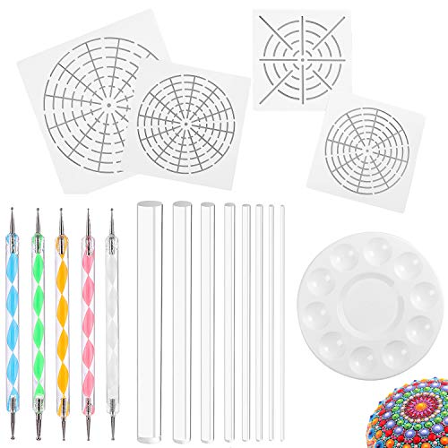 (Whaline Mandala Art Dotting Tools 18 Set Including 4 Mandala Stencils, 8 x Acrylic Rods, Paint Tray and 5 Double Sided Dotting Tools)