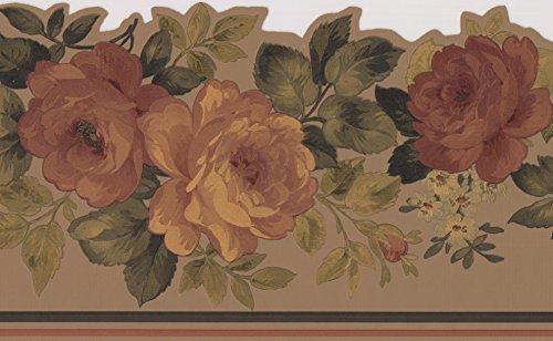 Yellow Brown Blooming Roses Light Taupe Wallpaper Border Floral Design, Roll 15' x 6''