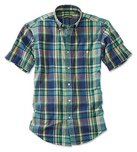- Orvis Men's Signature Madras Short-Sleeved Shirt, Blue/Green, Medium