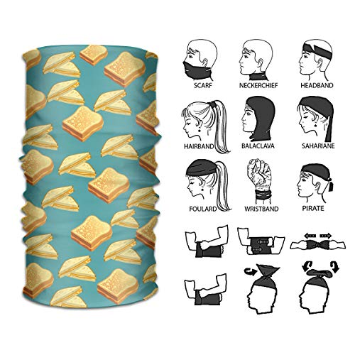 Ivanfield Grilled Cheese Outdoor Multi-use Seamless Headband Tube Bandana Headwrap Headscarves Fashion Magic Scarf