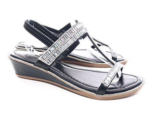 Damen Keilabsatz Sandalen Schwarz # 111