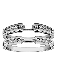0.39ct Channel Set Solitaire Enhancer Real Simulated Diamonds Ring Guard Wrap White Gold Plated