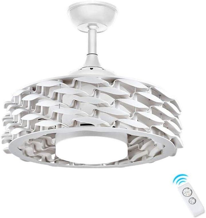 Ventilador de Techo con Luz Lámpara 55cm Sin Hojas Invisible Ventilador de Techo Realce Mudo LED Tricolor 48W Control Remoto (blanco)