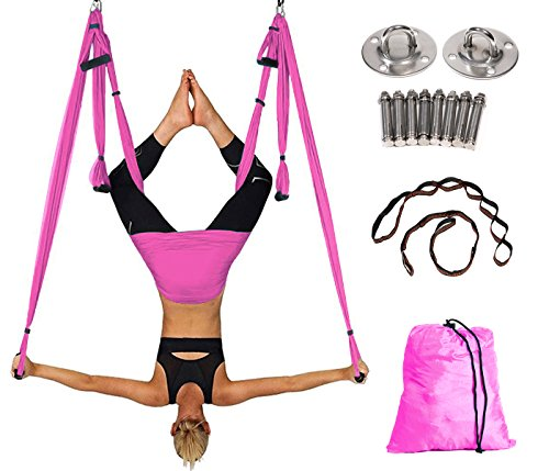 Aerial Yoga Hammock Kit Yoga Swing Set with Installation Hardware and 2 Extension Straps