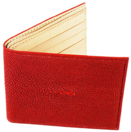 Stingray Wallet, Bi-Fold w/ ID Holder, 9 Credit Card Slots, Red w/ Creme Leather Interior (Stingray Red)