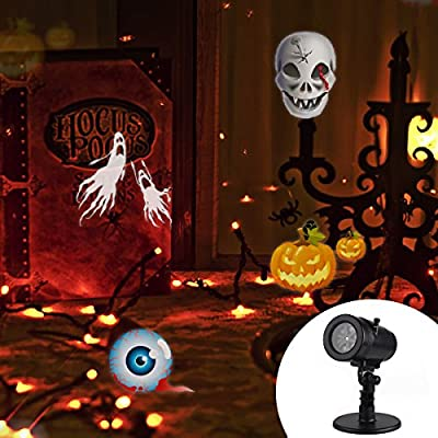 Halloween Decorations,Outdoor Christmas Projector Lights,LED Rotating Projection with 14 Pattern Lens Snowflakes Spotlight Waterproof Lights for Wedding Holiday Birthday Party Home Wall Decor Lamp