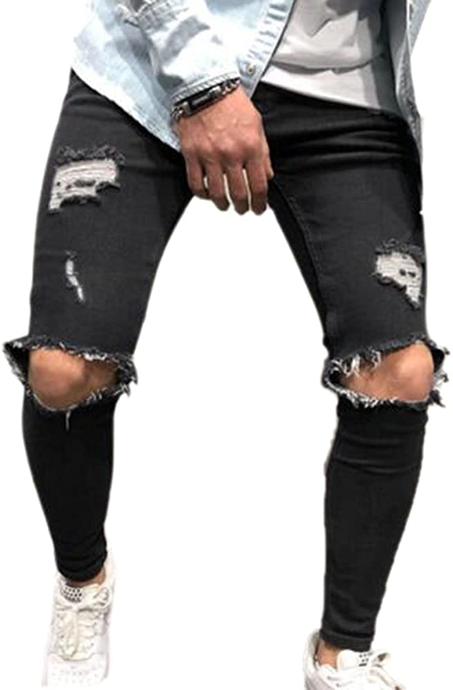 Keepmore Pantaloni Denim da Uomo Jeans Strappati Strappati con Design a Buco Jeans Skinny Elasticizzati Pantaloni Slim Fit in Denim