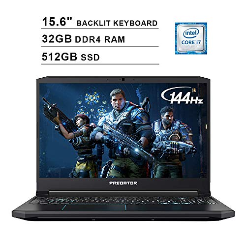 Acer 2019 Predator Helios 300 15.6 Inch FHD Gaming Laptop (9th Gen Intel 6-Core i7-9750H up to 4.5 GHz, 32GB RAM, 512GB PCIe SSD, Backlit Keyboard, NVIDIA GeForce GTX 1660 Ti, WiFi, Bluetooth, Win 10)