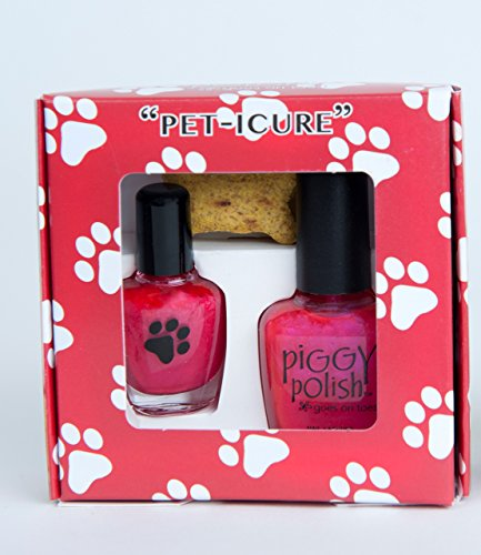 Peticure Nail Polish Pet Kit, Bright Pink Color, Nail Polish + Mini Bottle + Remover, Healthy Ingredients .5 oz Bottle plus Mini - Remover Dog Polish Nail