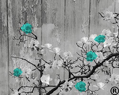 Turquoise Rustic Floral Wall Art, 8
