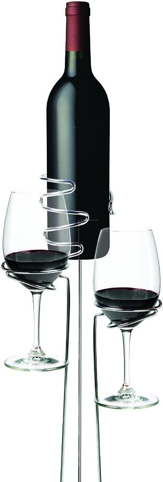 True Picnic Stix Wine and Glass Bottle Holders, Set of 3, Silver