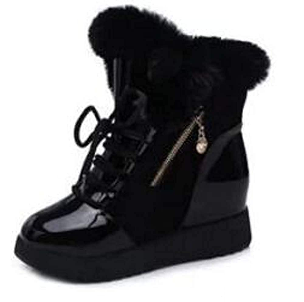 Womens Warm Winter Boots Fur Leather Zip Boots High Top Casual Shoes